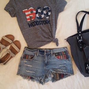 Free People Patchwork jean shorts